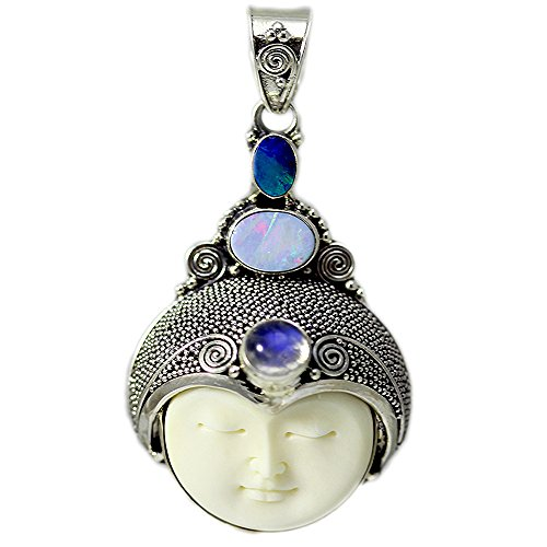 (Carved Bone Face Pendant with Moonstone and Two Opal Stones)
