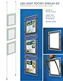 Suspended LED Light Pocket for Real Estate Window Displays - Cable Suspended Poster Display Kit with 3 (three) LED Light Pockets - Double Sided (Insert Size 8.5''W x 11''H)