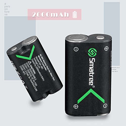 Smatree Xbox One Battery Pack 2 x 2000mAh Rechargeable Battery for Xbox OneXbox One SXbox One XXbox