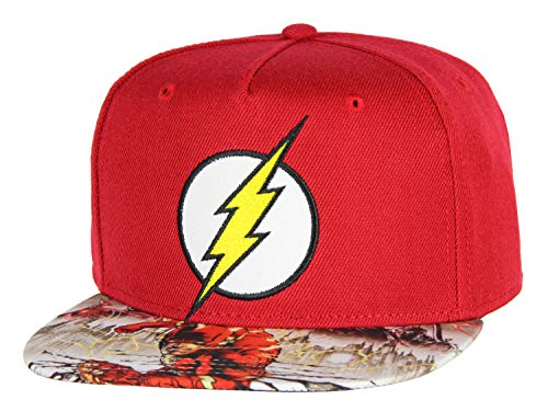 (DC Comics Flash Hat Kids Embroidered Logo Photoreal Youth Snapback Cap)