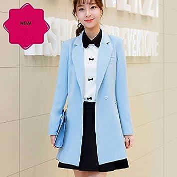 GS ~ LY regalo Kleine Suit Abrigos, mujer larga en primavera y otoño Nueva langärmlige Chaqueta hembra, color azul celeste, tamaño medium: Amazon.es: ...