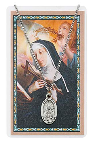 St. Rita Pendant and Prayer Card Set, Includes a 18 in. chain and St. Rita Prayer Card