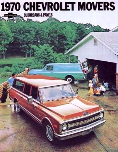 A MUST FOR OWNERS & RESTORERS - THE 1970 CHEVY SUBURBANS & PANEL TRUCK DEALERSHIP SALES BROCHURE - ADVERTISMENT Includes All Models - C10, C20, CS/CE, K10, K20, KS/KE - 2WD & 4WD - CHEVROLET 70