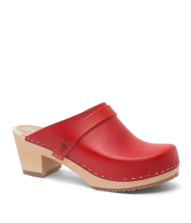 Red (Vegetable Tanned Leather) Sandgrens Swedish High Heel Wooden Clog Mules for Women   Dublin