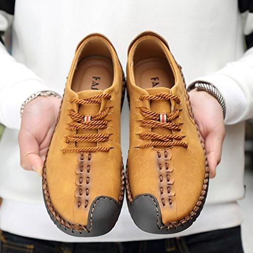 Mocasines Zapatos a Retro hombres los Estilo Mocasines vestir Amarillo cordones planos Negocio de de mano conducción Zapatos británico hechos con de Mocasines Oxfords Zapatos Iqw64Cn0