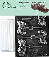 "Cybrtrayd 45St25-K083 Sportsbike Lolly Chocolate Candy Mold with 25 Cybrtrayd 4.5"" Lollipop Sticks"