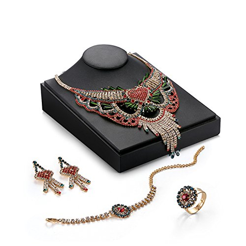 Women Fashion Bride Sets Pendant Necklace And Elegant Earrings Red - 6