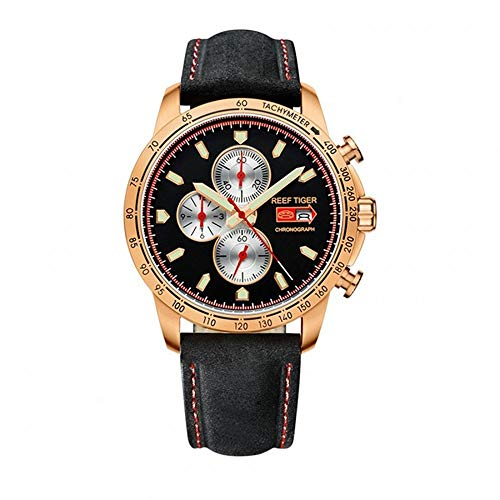 - LiBetyd RT Sport Watch for Men Chronograph Quartz Watch with Italian Calfskin Leather and Super Luminous Watch-RGA3029PBB