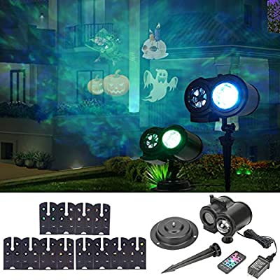 LLQ Holiday Projector Lights, LED Projection Light with 12 Slides, Outdoor/Indoor Decoration Lighting for Christmas, Halloween, Birthday Party