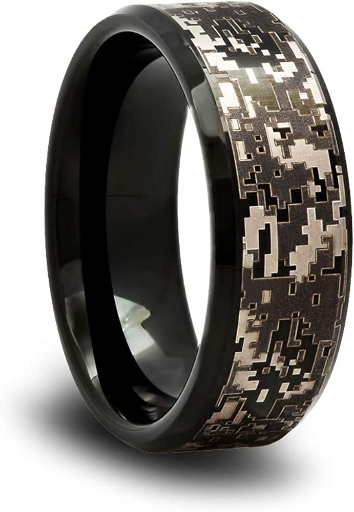 Black Camo Tungsten Wedding Band with Digital Camouflage Pattern and Beveled Edges
