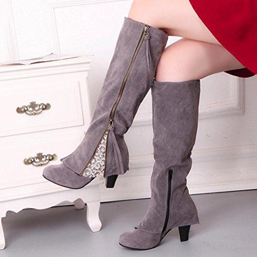 Kolylong® Stiefel damen Frauen Elegant Spitze Stiefel Lange Herbst Winter Warme Stiefel mit absatz Vintage Overknee Stiefel Slim Reißverschluss Schnee Stiefel Mädchen Schuhe Über Knie Grau