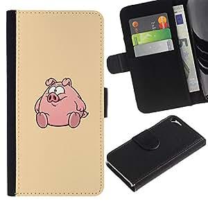 For Apple iPhone 5 / iPhone 5S,S-type® Round Fat Cute Cartoon - Dibujo PU billetera de cuero Funda Case Caso de la piel de la bolsa protectora