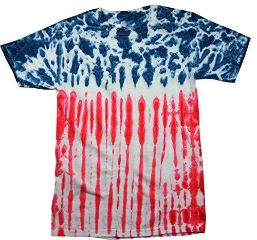 Tie Dye Flag Shirt Red White Blue American USA T-Shirt Medium