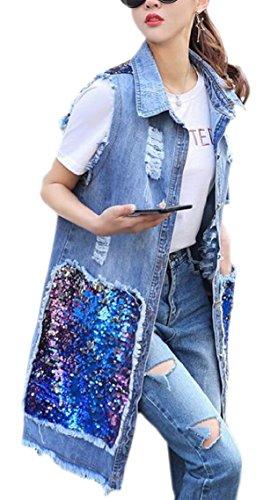 四回チャートきちんとしたgawaga 女性の夏のルーズデニムロングベスト襟デニムノースリーブジャケット