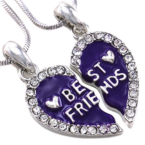 Soulbreezecollection Best Friends Forever BFF Charm Heart Necklace Pendant Enamel Engraved Letters (Purple)