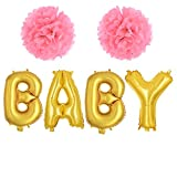 """Health & Personal Care : TTCOROCK Baby Shower Set - 16"""" BABY Balloon & Pom Poms Flowers Gold Letter Balloons Pink Theme Baby Shower Gender Reveal First Birthday Decoration"""