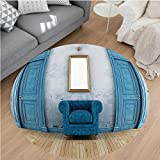 Nalahome Modern Flannel Microfiber Non-Slip Machine Washable Round Area Rug-tique Decor Empty Room With Two Doors Armchair And Simple Mirror With Golden Color Frame area rugs Home Decor-Round 79''