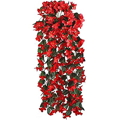 Gtidea 2 pack Artificial Violet Silk Vines Flowers Green Leaves Plants Hanging Rattan Fences Background Windows Wall Decoration Wholesale Home Party Ceremony Wedding Red