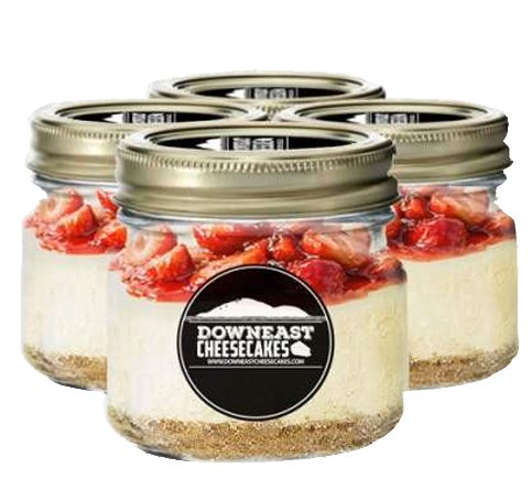 4 Pack Cheesecake In A Jar - Handmade in Maine Dessert Jars (Strawberry)