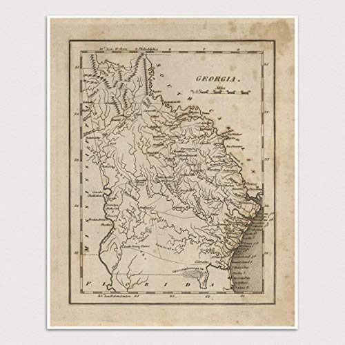 graphic about Printable Maps of Georgia referred to as : Outdated Ga Map Artwork Print, 1816, Archival