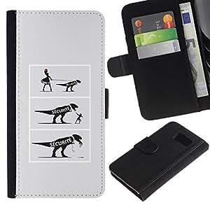 All Phone Most Case / Oferta Especial Cáscara Funda de cuero Monedero Cubierta de proteccion Caso / Wallet Case for Samsung Galaxy S6 // FUNNY - DINOSAUR COMIC