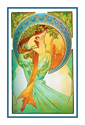 Cross Stitch Art Nouveau - Orenco Originals The Arts Poetry by Alphonse Mucha Counted Cross Stitch Pattern