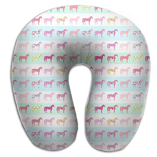 Preppy Horse Pretty Style Stripe Pattern Modern Style Equestrian Style Travel Pillow U Shaped Pillow Memory Foam Washable Cover For Travel,Home,Neck Pain,Airplane,Car,Bus Or - Modern Preppy