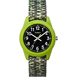 Timex Boys TW7C11900 Time Machines Analog Resin Green/Black Sport Elastic Fabric Strap Watch
