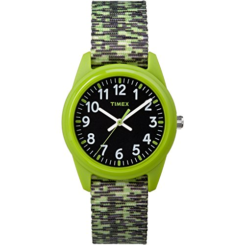 Timex Boys TW7C11900 Time Machines Analog Resin Green/Black Sport Elastic Fabric Strap Watch