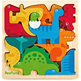 """DinoPuzzle Wooden 3D Dinosaur Puzzle for Toddlers & Kids Age 3 +, 11""""x 11"""" x .5"""" :: Bright, Colorful Shape Sorting :: Promotes Play, Imagination, Creativity & Learning :: Non Toxic :: Super Fun Gift"""