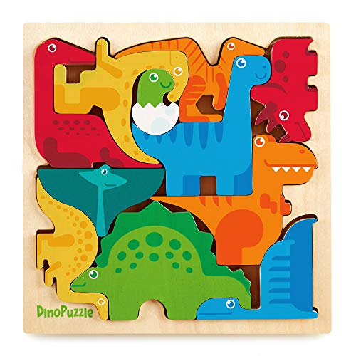 Dinosaur Puzzle 3D Wood Jigsaw for Toddlers & Kids Age 3 +, 11