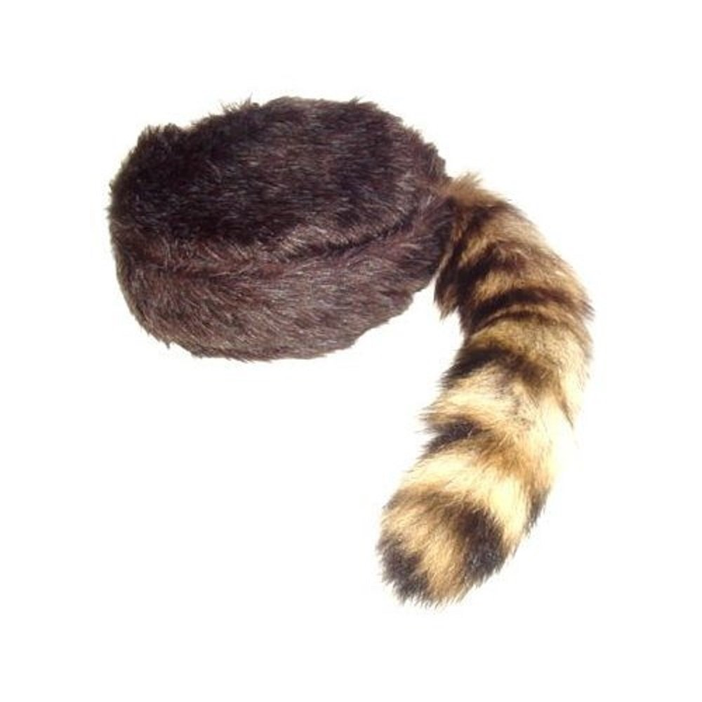 Davy Crockett Coon Skin Hat with Real Tail Size Medium