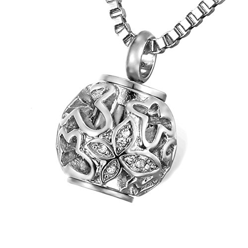 HOUSWEETY Hollow Butterfly Crystal Spacer Bead Charm Rotatable Keepsake Necklace-Urn Pendant-Stainless Steel Memorial Jewelry