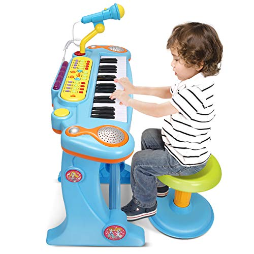 - Costzon Electronic Keyboard 37-Key Piano, Musical Piano for Kids with Working Microphone/Stool (Blue)