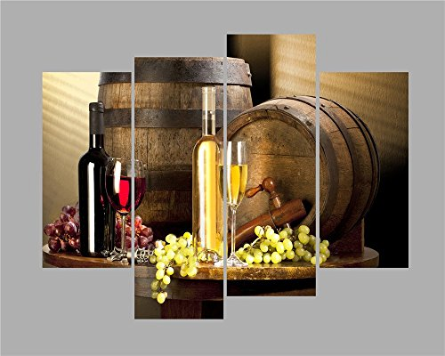 Ode-Rin Art Christmas Gift Prints Oil Paintings Bed Room Kitchen Fitted Wine Cellar With Fruits Cups of Wine On Table Super Canvas Print Wood Strenched Oil Paintings