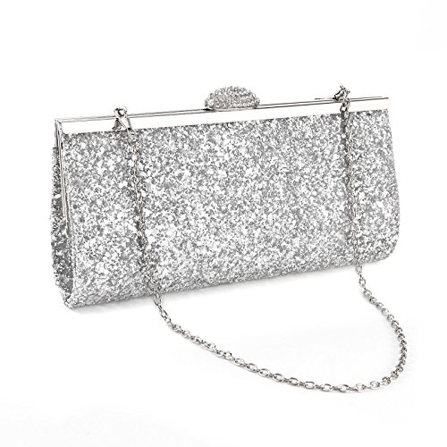 Womens Ladies Evening Party Clutch Bag Glitter Shimmer Style Handbag Shoulder Bag Wedding Prom Party Silver