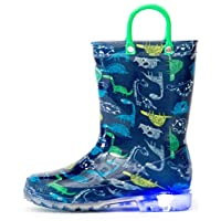 Outee Kids Toddler Boys Rain Boots Printed Waterproof Shoes Light Up Lightweight Cute Blue Dinosaur with Easy-On Handles and Insole (Size 12,Blue)