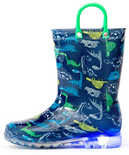 Outee Boys Kids Toddler Rain Boots Light Up Printed Waterproof Shoes Lightweight Cute Blue Dinosaur with Easy-On Handles and Insole (Size 1,Blue)