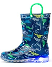 Toddler Kids Adorable Printed Light Up Rain Boots