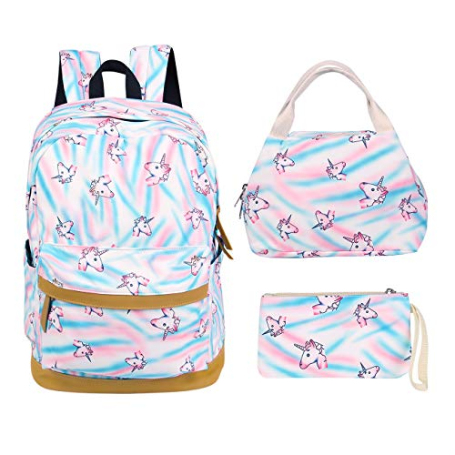 YOUTH UNION 3Pcs/Set Printed Rainbow Unicorn Backpack School College Bags Laptop Bookbags Daypack for Teens Girls Students (Printed Union)