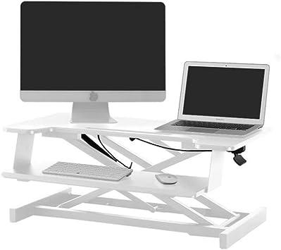 ZXF5 El Soporte del Monitor del Ordenador De Acero Pc TV De Pantalla Portátil De La Oficina En Casa Heighten De Pie Ajustable En Altura De Trabajo,White: Amazon.es: Electrónica