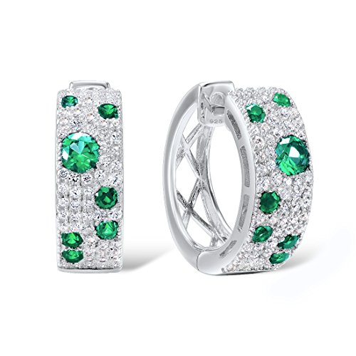 Santuzza Sterling Silver Simulated Emerald Color Earrings Natural Gem Stone Green Spinel White ()