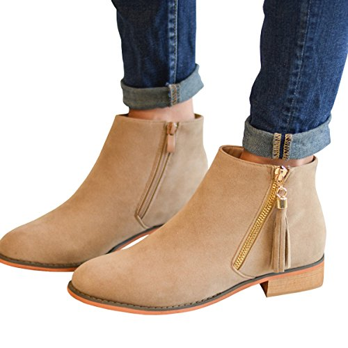 Boots Stacked Fashare Western Zipper Pointed Booties Fall Womens khaki 2 Low Side Toe Ankle Heel t8TSq8