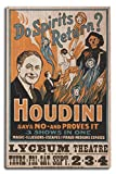 Do Spirits Return? Houdini Says NO - Proves It Show - Vintage Theater Advertisement (10x15 Wood Wall Sign, Wall Decor Ready to Hang)
