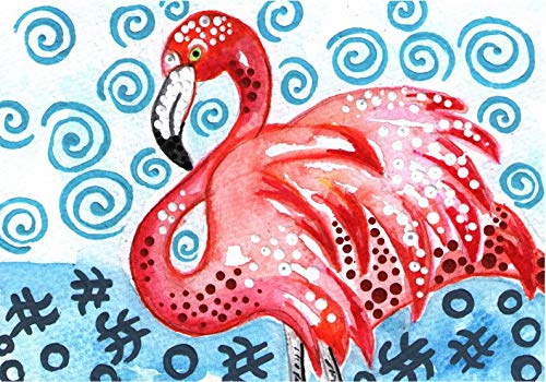 Amazon com: MODERN ART FLAMINGO flamingos dance abstract original