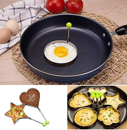 Gwill 5PCS Stainless Steel Fried Egg Mold, Egg Ring Pancake Mold Kitchen Cooking Tool Multiple Use as Egg Shaper Rings, Pancake Molds, Dessert or Baking Molds