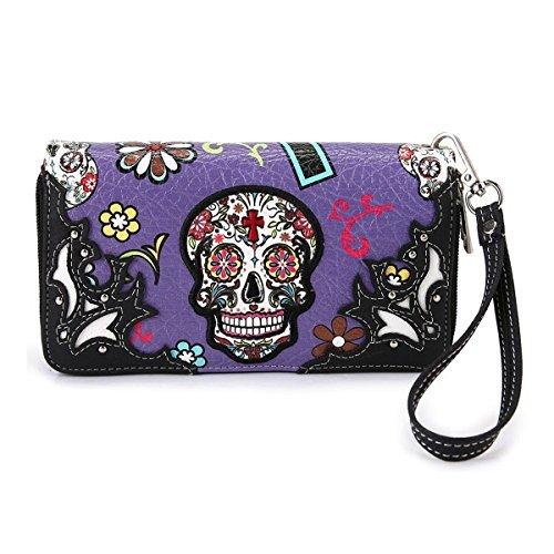 Cowgirl Trendy Western Purse Sugar Skull, Cross Clutch Wallet Day of the Dead Wristlet, Fuchsia (Skull Cross Pink Flowers)