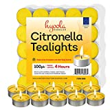 Hyoola Tealight Citronella Candles - 100 Pack Indoor and Outdoor Decorative and Mosquito, Insect and Bug Repellent Candle - Natural Fresh Scent - 4 Hour Burn Time