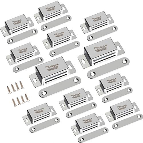 Aluminum Magnetic Catch - Cabinet Door Magnets Jiayi 10 Pack Magnetic Door Catch 15 lbs 2 Pack Strong Magnet Cabinet Latch Hardware 20 lbs Stainless Steel Door Latch for Kitchen Cupboard Wardrobe Closet Door Closer-Silver