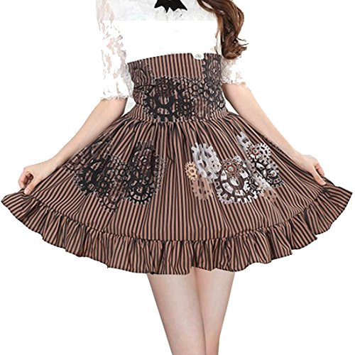 Costumes Steampunk Cheap (Partiss Women's High Waisted Steam Punk Printed Sweet Lolita Skirt Costume, Chinese Medium,)